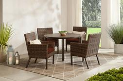 OUTDOOR PATIO DINING SET 5-Piece Wicker Chairs Table Red Sun