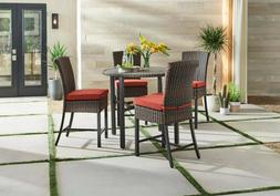 OUTDOOR PATIO DINING SET 5-Piece Wicker Chairs Table Red Cus