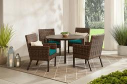OUTDOOR PATIO DINING SET 5-Piece Wicker Chairs Table Blue Su