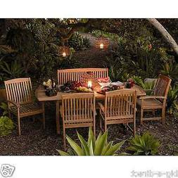 Outdoor Patio Extendable Teak Wood Dining Set - 6 pc Table B