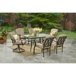 Outdoor Patio Furniture 7-Piece Dining Set Steel Frame 6 Cus