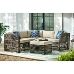 Grand Isle 4-Piece Wicker Outdoor Patio Sectional Seating Se