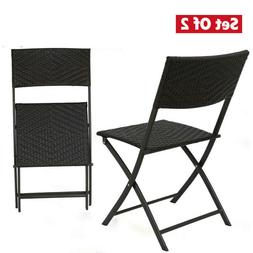 Outdoor Patio Set Furniture 2 Pcs Folding Chairs Table Backy