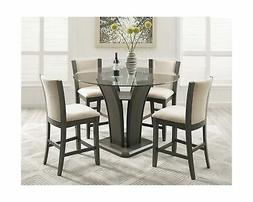 Roundhill Furniture P051GY Kecco Gray 5-Piece Round Glass To