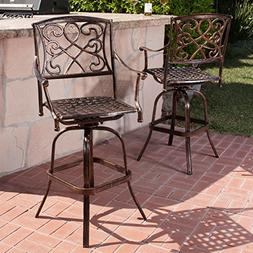 Paris Copper Finish Cast Aluminum Swivel Bar Stools