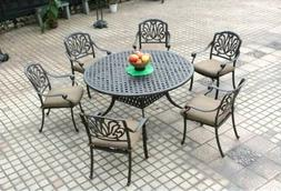 """7 Piece Patio Dining Set 1 Round 60"""" Table and 6 Elisabeth D"""