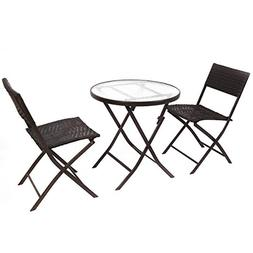 Giantex Patio Furniture Folding 3PC Table Chair Set Bistro S