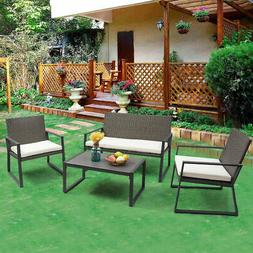 Giantex 4pc Patio Furniture Set Cushioned Outdoor Wicker Rat