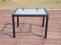 Patio Resin Outdoor Wicker Square 39.5 Inches Dining Table w