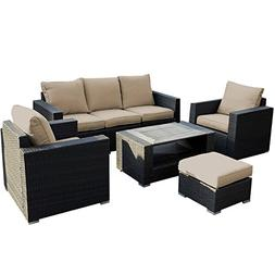 Giantex 7pc Outdoor Patio Patio Sectional Furniture Pe Wicke