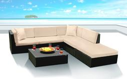 Outdoor Patio Wicker Furniture Sofa Sectional 6pc Couch Set
