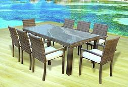 Outdoor Patio Wicker Furniture All Weather New Resin 9-Piece