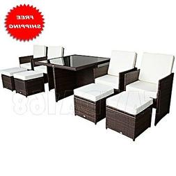 Outsunny 9pc Outdoor PE Rattan Wicker Nesting Patio Dining T