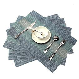 PAUWER Placemats Set of 4 Crossweave Woven Vinyl Placemat fo