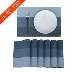 Familamb Placemats for Dining Table Set of 6 Woven Vinyl Was
