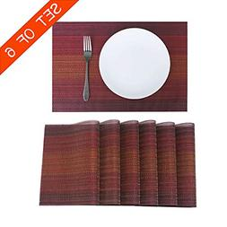 Familighter Placemats for Dining Table Set of 6 Woven Vinyl