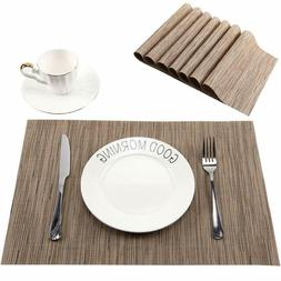 Placemats for Dining Table,Set of 8,Woven Vinyl,Washable,Rec