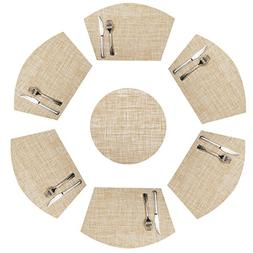 SHACOS Placemats for Round Dinner Table, Set of 6 Wedge Kitc