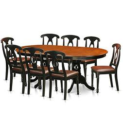East West Furniture PLKE9-BCH-LC 9 Piece Dining Table with 8