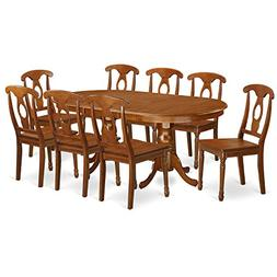East West Furniture PLNA9-SBR-W 9-Piece Dining Table Set