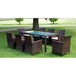 Poly Rattan Garden Funiture Dining Table and 8 Chairs Dining