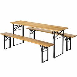 Portable 3 Piece Folding Picnic Table Set W/ Wooden Tabletop