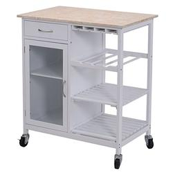 Giantex Portable Kitchen Rolling Cart Faux Marble Top Island