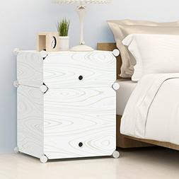 KOUSI Portable Plastic Nightstand End Table DIY Storage Cabi