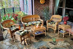 Tortuga Portside 6 Piece Wicker Outdoor Seating Set, Amber W