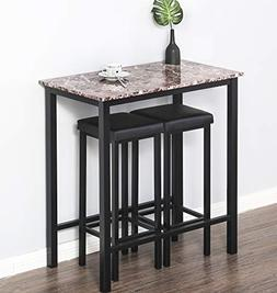 Homury 3-Piece Pub Dining Set Bar Table Set Breakfast Table,