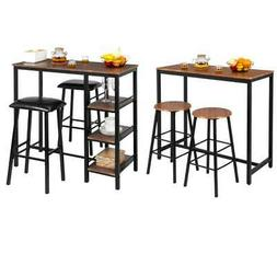 3 Piece Pub Table Set Bar Stools Dining Home Kitchen Furnitu