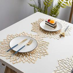PVC Material Placemat Hollowed <font><b>Gold</b></font> Stam