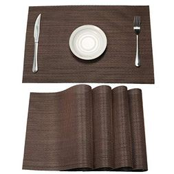 SHACOS PVC Placemats Woven Vinyl Place Mats for Dining Table