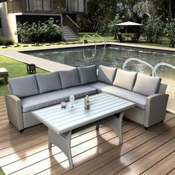 Rattan Wicker Set Outdoor Patio Furniture Sectional Sofa Din