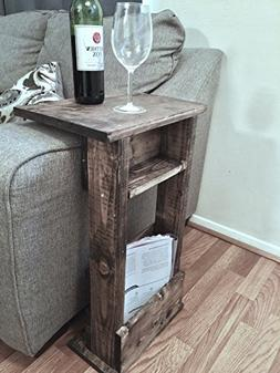 RUSTIC Sofa Chair Arm Rest Table Stand with Shelf and Storag
