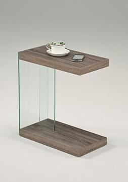 Reclaimed Wood Look Finish Glass Chrome Snack Side End Table