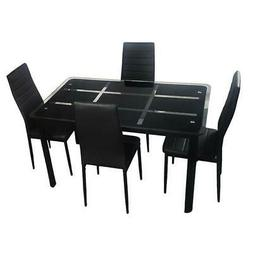 Rectangle Tempered Glass Dining Table Chair Set Kitchen Furn