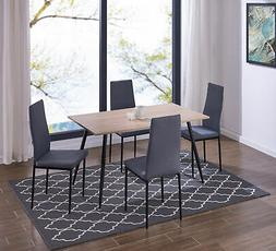 IDS Rectangle Wood Dining Table Set with Fabric Chairs Livng