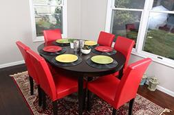Red Leather 7pc Oval Solid Top Dining Table Contemporary Cap