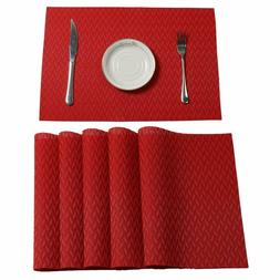 Red Set of 6 Placemats Dining Table Mats Cross weave Woven V