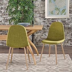 Resta Mid Century Modern Green Fabric Dining Chairs with Lig