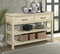 Retro Console Table for Entryway with Drawers and Shelf Livi