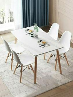 Wooden Dining Room Table Set 5 Piece 4 Chairs Kitchen Living