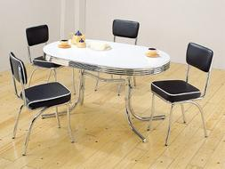 Retro Dining Table Set Four Black Chairs Chrome Plated
