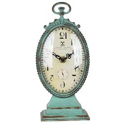 NIKKY HOME Shabby Chic Pewter Round Table Clock Distressed S