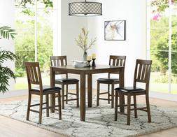 Rich Espresso Finish Family Dining Room 5pc Set Counter heig