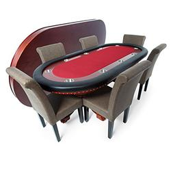 BBO Poker Rockwell Poker Table for 10 Players with Red Felt