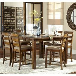 Homelegance Ronan 7 Piece Counter Height Table Set In Burnis