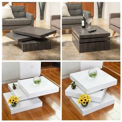 Rotating Coffee Table Modern Style Square 3 Layers Living Ro