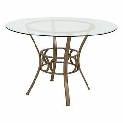 Round 45-inch Clear Glass Top Dining Table with Matte Gold M